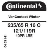 235/65 R16C 121/119R Continental VanContact Winter 10PR