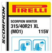 315/40 R21 115V Pirelli Scorpion Winter XL MO1 (Mercedes GLE AMG)