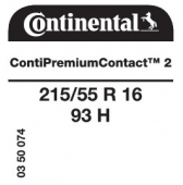 215/55 R16 93H Continental ContiPremiumContact 2