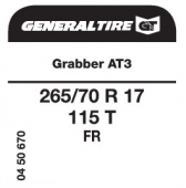 265/70 R17 115T General Tire Grabber AT3 FR