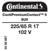 225/65 R17 102V Continental ContiPremiumContact 5 SUV (Chevrolet)