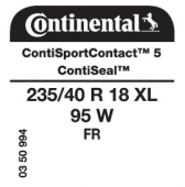 235/40 R18 95W Continental ContiSportContact 5 XL FR ContiSeal (VW Passat)