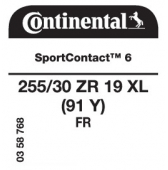 255/30 ZR19 (91Y) Continental SportContact 6 XL FR