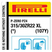 315/30 ZR22 (107Y) Pirelli P Zero PZ4 Sports Car XL * (BMW X5M F95, X6M F96)