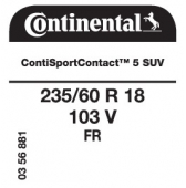 235/60 R18 103V Continental ContiSportContact 5 SUV FR (Renault Espace)