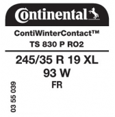 245/35 R19 93W Continental ContiWinterContact TS830 P XL FR RO2 (Audi)