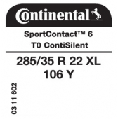 285/35 R22 106Y Continental SportContact 6 XL ContiSilent T0 (Tesla)