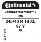 245/40 R18 97Y Continental ContiSportContact 3 XL FR MO (Mercedes E-Class W212)