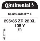 295/35 ZR22 108Y Continental SportContact 6 XL FR