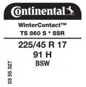 225/45 R17 91H Continental WinterContact TS 860S SSR Runflat * (BMW)