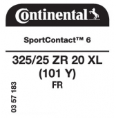 325/25 ZR20 (101Y) Continental SportContact 6 XL FR