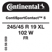 245/45 R19 102W Continental ContiSportContact 5 XL FR (Ford S-Max/Galaxy)
