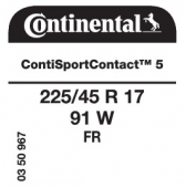 225/45 R17 91W Continental ContiSportContact 5 FR (VW Golf VII)
