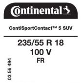235/55 R18 100V Continental ContiSportContact 5 SUV FR (VW Tiguan)