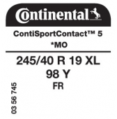 245/40 R19 98Y Continental ContiSportContact 5 XL FR *MO (Mercedes E-Class / BMW 5 Series)