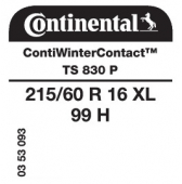 215/60 R16 99H Continental ContiWinterContact TS830 P XL