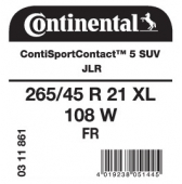 265/45 R21 108W Continental ContiSportContact 5 SUV XL FR J LR (Land Rover Grand Evoque)