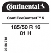 185/50 R16 81H Continental ContiEcoContact 5 (Renault Twingo, Smart)