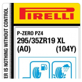 295/35 ZR19 (104Y) Pirelli P Zero PZ4 Sports Car XL AO (Audi)
