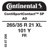 265/35 R21 101Y Continental ContiSportContact 5P XL FR AO (Audi A8/S8)