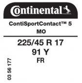 225/45 R17 91Y Continental ContiSportContact 5 FR MO (Mercedes C-Class W204)