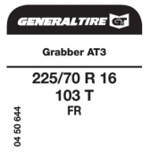 225/70 R16 103T General Tire Grabber AT3 FR