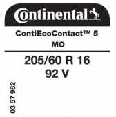 205/60 R16 92V Continental ContiEcoContact 5 MO (Mercedes B-Class W247)