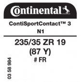 235/35 ZR19 (87Y) Continental ContiSportContact 3 FR N1 (Porsche Boxster)
