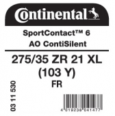 275/35 ZR21 (103Y) Continental SportContact 6 XL FR ContiSilent AO (Audi RS6/7 C8)