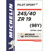 245/40 ZR19 (98Y) Michelin Pilot Sport 4 XL
