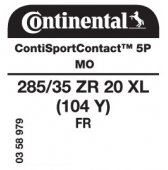 285/35 ZR20 (104Y) Continental ContiSportContact 5P XL FR MO (Mercedes S-Class AMG W222)