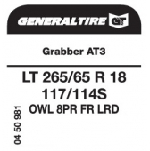 LT 265/65 R18 117/114S General Tire Grabber AT3 LRD FR OWL 8PR