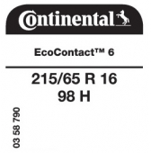215/65 R16 98H Continental EcoContact 6 (Renault Captur)