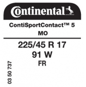 225/45 R17 91W Continental ContiSportContact 5 FR MO (Mercedes R172)