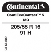 205/55 R16 91H Continental ContiEcoContact 5 MO (Mercedes B-Class)