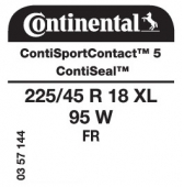 225/45 R18 95W Continental ContiSportContact 5 XL FR ContiSeal (VW Sharan)