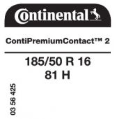 185/50 R16 81H Continental ContiPremiumContact 2 (VW UP)