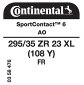 295/35 ZR23 (108Y) Continental SportContact 6 XL FR AO (Audi RSQ8)