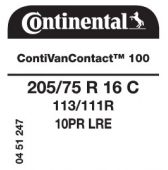 205/75 R16C 113/111R Continental ContiVanContact 100 10PR (VW Crafter)