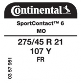 275/45 R21 107Y Continental SportContact 6 FR MO (Mercedes GLE Coupe)