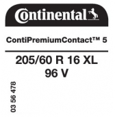 205/60 R16 96V Continental ContiPremiumContact 5 XL (VW Touran)