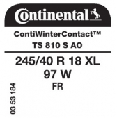 245/40 R18 97W Continental ContiWinterContact TS810 S XL FR AO (Audi)