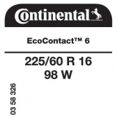 225/60 R16 98W Continental EcoContact 6
