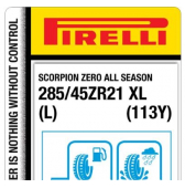 285/45 ZR21 (113Y) Pirelli Scorpion Zero All Season XL L (Lamborghini URUS)