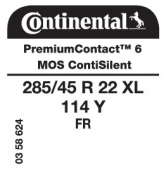 285/45 R22 114Y Continental PremiumContact 6 XL FR ContiSilent MO-S (Mercedes GLS / Maybach Version)