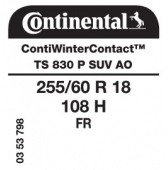 255/60 R18 108H Continental ContiWinterContact TS830 P SUV FR AO (Audi)