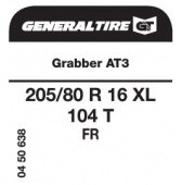 205/80 R16 104T General Tire Grabber AT3 XL FR