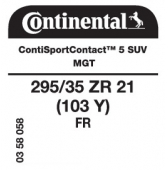 295/35 ZR21 (103Y) Continental ContiSportContact 5 SUV FR MGT (Maserati)