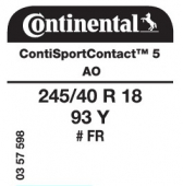 245/40 R18 93Y Continental ContiSportContact 5 FR AO (Audi A4/A5)