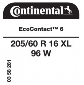 205/60 R16 96W Continental EcoContact 6 XL